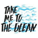 Lléveme a la mano del océano dibujada Imágenes de archivo libres de regalías