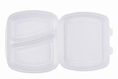 Llévese los alimentos de preparación rápida que empaquetan en el fondo blanco Fotografía de archivo libre de regalías