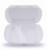 Llévese los alimentos de preparación rápida que empaquetan en el fondo blanco Imágenes de archivo libres de regalías