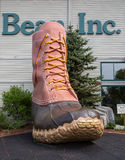 LL Bean boot. FREEPORT, MAINE, USA-AUG 31st, 2014: L.L. Bean is retail company founded in 1912 by Leon Leonwood Bean. A replica of its famous boot stands outside Stock Photos