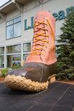 LL Bean boot. FREEPORT, MAINE, USA-AUG 31st, 2014: L.L. Bean is retail company founded in 1912 by Leon Leonwood Bean. A replica of its famous boot stands outside Stock Image