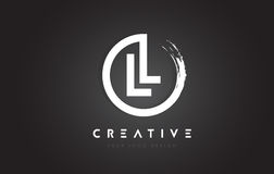 LL Circular Letter Logo with Circle Brush Design and Black Background. stock illustration
