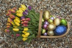 Ll del ¼ del fà del trug del giardino delle uova di Pasqua e dei tulipani Immagini Stock Libere da Diritti