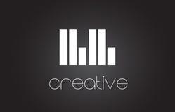 LL L lettre Logo Design With White et lignes noires Images libres de droits