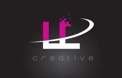 LL L progettazione di lettere creativa con i colori rosa bianchi royalty illustrazione gratis