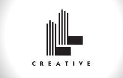LL Logo Letter With Black Lines Design. Line Letter Vector Illus stock illustration