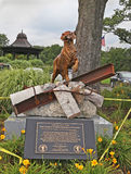 9/ll Statue Honors Search and Rescue Dogs. A statue honors search and rescue dogs who took part in the search and recovery process at the World Trade Center and Stock Photos