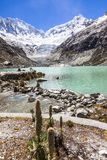 Llaca lagoon in the peruvian Andes and Ocshapalpa peak and Ranrapalca peak. Llaca lagoon (4474 m) in the peruvian Andes and Ocshapalpa peak (5888 m) and stock images