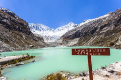 Llaca lagoon in the peruvian Andes and Ocshapalpa peak and Ranrapalca peak. Llaca lagoon (4474 m) in the peruvian Andes and Ocshapalpa peak (5888 m) and stock image