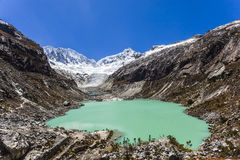 Llaca lagoon in the peruvian Andes and Ocshapalpa peak and Ranrapalca peak. Llaca lagoon (4474 m) in the peruvian Andes and Ocshapalpa peak (5888 m) and royalty free stock image