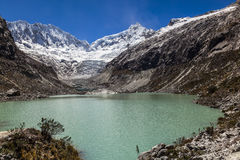 Llaca lagoon in the peruvian Andes and Ocshapalpa peak and Ranrapalca peak. Llaca lagoon (4474 m) in the peruvian Andes and Ocshapalpa peak (5888 m) and stock photo