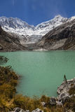 Llaca lagoon in the peruvian Andes and Ocshapalpa peak and Ranrapalca peak. Llaca lagoon (4474 m) in the peruvian Andes and Ocshapalpa peak (5888 m) and royalty free stock photo
