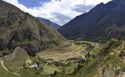 Llactapata Ruinen auf der Inka-Spur stockbilder