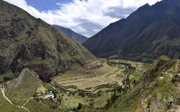 Llactapata Ruins on the Inca Trail Stock Images