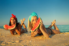 Lladies at sea with watermelon Royalty Free Stock Images