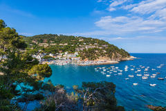 Llafranc, Costa Brava, Spain. JUNE 9: View of the picturesque seaside resort of Llafranc. Palafrugell, Costa Brava, Catalonia, Spain royalty free stock photo
