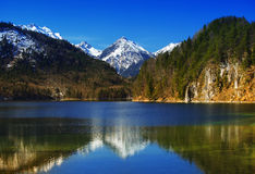 Llake with bavarian alps in Germany Royalty Free Stock Images