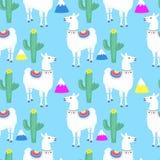 llama κάκτοι Κάκτος Βουνά Αστείος χαρακτήρας κινουμένων σχεδίων προβατοκαμήλου Άνευ ραφής σχέδιο για το βρεφικό σταθμό, κλωστοϋφα διανυσματική απεικόνιση