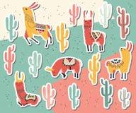 Llama και κάκτων συλλογή αυτοκόλλητων ετικεττών Στοκ εικόνα με δικαίωμα ελεύθερης χρήσης