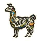 Llama προβατοκαμήλου κινούμενων σχεδίων μεξικάνικο κρανίο ζάχαρης επίσης corel σύρετε το διάνυσμα απεικόνισης Στοκ Εικόνες
