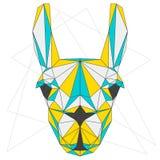 Llama abstracta el azul, el amarillo y el gris mezclados colorearon el retrato geométrico del triángulo poligonal en el fondo bla Fotos de archivo