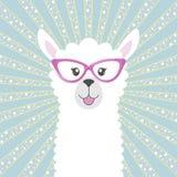 Llama adorable linda del beb? de la tarjeta de felicitaci?n Tarjeta de felicitaci?n stock de ilustración