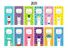 Llama alpaca calendar 2019. Vertical monthly. Cute funny cartoon character set. All month. Happy Valentines Christmas St Patrick d. Ay Easter Egg Bird Chicken vector illustration