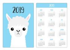 Llama alpaca face head. Simple pocket calendar layout 2019 new year. Week starts Sunday. Cute cartoon character. Vertical royalty free illustration