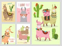 Llama Alpaca linda de las llamas del bebé y camello salvaje de Perú de los cactus, sistema del vector de la invitación del partid stock de ilustración