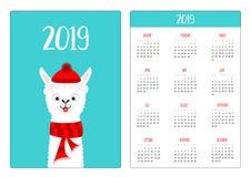 Llama alpaca. Red hat, scarf. Simple pocket calendar layout 2019 new year. Week starts Sunday. Cute cartoon character. Vertical royalty free illustration