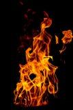 llama amarilla del fuego aislada en fondo negro Imagenes de archivo