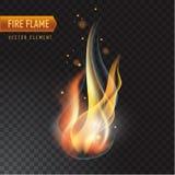 Llama ardiente realista del fuego, efecto del vector con la transparencia Foto de archivo