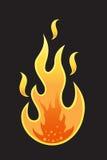 Llama caliente en fondo negro ilustración del vector
