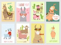 Llama cards. Baby llamas cute alpaca and cacti wild lama. Peru camel, girl party invitation vector set vector illustration