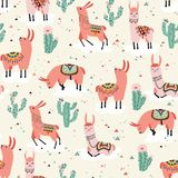 Llama on a cloud. Seamless pattern with lovely flowers and cacti in vector Royalty Free Stock Photo