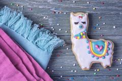 Llama cookie. On a wooden background stock images