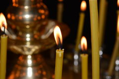 Llama de la vela de la cera Fotos de archivo