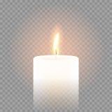 Llama de vela que quema el fondo transparente del vector realista 3D ilustración del vector