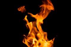 Llama del fuego aislada en fondo negro imagenes de archivo