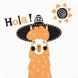 Llama en sombrero stock de ilustración
