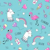 LLama and flamingo pattern on a pink background. Colorful trendy seamless pattern. Fashion illustration drawing in modern style. For clothes. Drawing for kids vector illustration