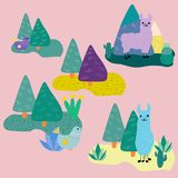 Llama and folk birds, vector icons collection. Perfect for use on stationery print or fabric, for bed sheets, labels, towels or clothing. It can also be used royalty free illustration