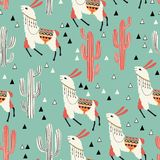 Llama in green desert. White llama on green background. Seamless pattern with lovely llamas, cacti and triangles in vector Royalty Free Stock Photos
