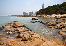 Llama Island Beach and Power Plant Royalty Free Stock Photos