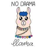 Llama lettering vector illustration royalty free illustration