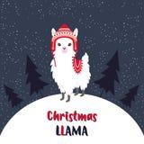 Llama linda de la Navidad ilustración del vector