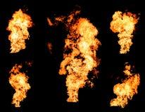 Llama que rabia ardiente del fuego de la colección ardiente del gas o del aceite Foto de archivo libre de regalías