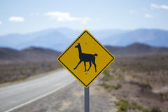 Llama road sign in Argentina, Andes, South America Stock Photos