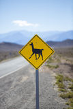Llama road sign in Argentina, Andes, South America Royalty Free Stock Image