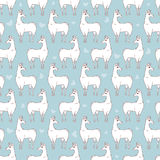Llama seamless repeating pattern on blue background. Four colors vector illustration. Stock Photos